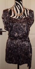 WAREHOUSE GREY ANIMAL PRINT PLAYSUIT WITH SELF TIE BELT SIZE 10 PRE LOVED