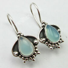 """925 Sterling Silver Sparkling AQUA CHALCEDONY VINTAGE STYLE DROP Earrings 1"""""""