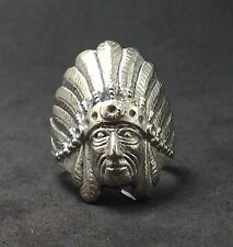 Sterling Silver 925 Chief Head Indian Native American Feather Hat Statement Ring