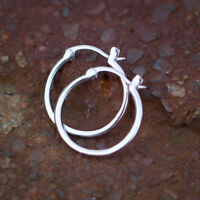 Men's 925 Sterling Silver Solid White Gold Plated Hoop Huggie Earrings