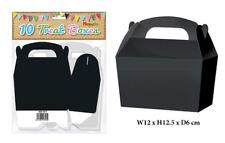 10 Black Treat Boxes - Small Cupcake Food Loot Cardboard Gift