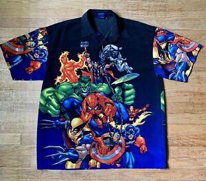 Marvel Comics Super Hero Button Down Shirt X-Men Avengers Mens XL