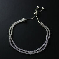 GENUINE 925 Sterling Silver Cubic Zirconia Layered Tennis Slider Bracelet UK New