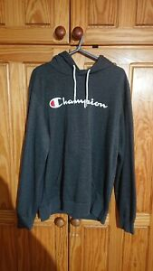 Champion Dark Grey Hoodie Size L Large Mens Long Sleeve Retro White Logo