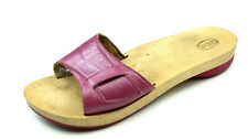 SCHOLL Holz Pantoletten Schlappen Sommer Schuhe 38 UK 5 Leder lila Clogs °AL
