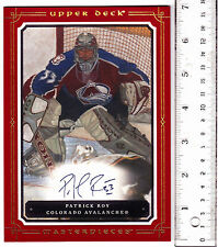 2008 08-09 UD Masterpieces 5x7 Autographs #XLAPR Patrick Roy on-card, box topper