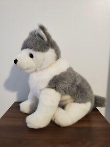 "TY 1993 Classic TIMBER Wolf Husky Dog 15"" gray white plush stuffed retired"
