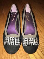 POETIC LICENCE Diamond Onyx LEATHER Wedges High Heels Women Shoes Pumps Sz 8.5 #