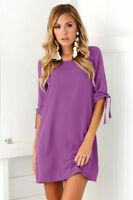 Ladies Elastic Waist Loose Lace Up Summer Loose Blouse Party Mini T-shirt Dress