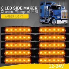 10x Amber 12V/24V LED Side Marker Clearance Light Waterproof IP68 Truck Trailer