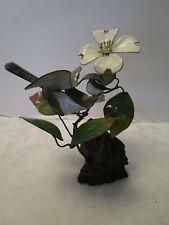 Norman Brumm Black Capped Chickadee Bird with Flowers Enamel on Copper Sculpture