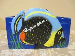 Hand Painted Fish Shape Coasters w/Holder, Pompano Beach Souvenir  (7pcs)