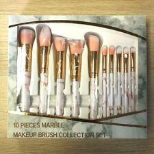 FULL GIFT SET 10PC Professional Pink Make-up Brush Brushes Marble Blusher Tool