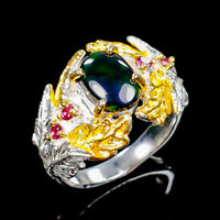 Beauty Rainbow9x6mm Natural Black Opal 925 Sterling Silver Ring Size 8/R122003