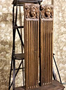 Pair renaissance figure corbel bracket Antique french wooden carving sculpture