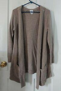 NY&C New York & Company beige, long cardigan sweater w/ hood. Size large