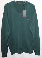 Greg Norman Mens Forest Green 100% Combed Cotton V-Neck Sweater NWT $75 Size M