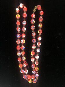 "Vintage Venetian Murano Millefiori red glass round beads necklace repair 27"""