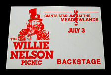 Willie Nelson Backstage Pass Giants Stadium NJ 7/3/1983 The Willie Nelson Picnic