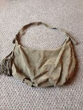 atmosphere faux suede khaki shoulder bag with tassle detail