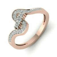 14K Rose Gold Over 0.38 Ct Round Diamond Solitaire Engagement Ring For Women's