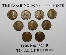 "1920-P-1929-P LINCOLN WHEAT CENT LOT OF 9 CENTS ~ ROARING 20's ""P"" MINTS LOT B04"