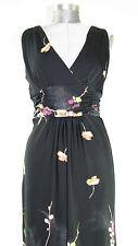 Black Long Dress - Women's Beautiful Floral Sleeveless Cinch Waist Size M