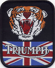 Triumph Woven Badge Patch with Tigers Head and Union Jack 93 x 75mm
