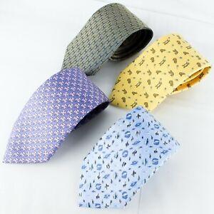 HERMES Tie Classic Necktie 100% Silk Print 4 Pieces Set
