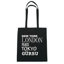 New York, London, Paris, Tokyo gürsu - Borsa di iuta Borsa - colore: Nero