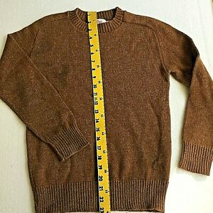 SWEATER Boys Med Solid Brown Crew Neck Machine washable EUC