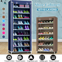 5/7/10 Tier Shoe Rack Portable Storage Cabinet Organiser Wardrobe Dustproof DIY