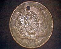 1844 CANADA BANK OF MONTREAL HALF PENNY TOKEN W/ HOLE KM#Tn18 #19021