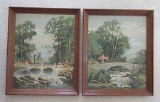 Vintage Paint By Number, Garden Waterfall & Tranquil Garden Bridge, Framed Set