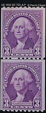 US 1932 WASHINGTON 3¢ JOINT LINE PAIR COIL PURPLE SC 722 MLH OG P10 HZ  V FINE