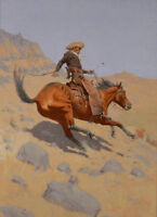 LMOP785 west cowboy ridding strong horse painted hand art oil painting on canvas