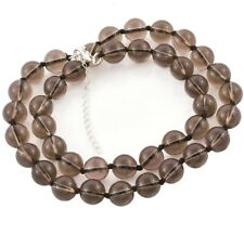 LARGE 10 mm SMOKE QUARTZ BEAD Necklace with 925 Silver extender 18+2  #L13