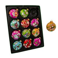65MM 12 Days Of Christmas Glass Ball Ornaments 12 Piece Box Set GG0638 New