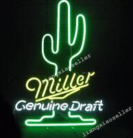 17X14 Miller Genuine Draft Cactus Logo REAL GLASS NEON SIGN BEER BAR PUB LIGHT