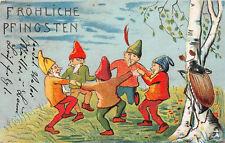 Tanzende Zwerge Käfe am Birke Pfingsten Postkarte 1906 Parchwitz