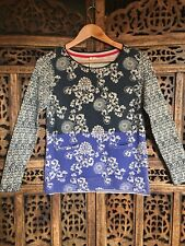 White Stuff Jumper Wool Blend Blue Lilac Floral Size 8