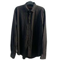 ETRO MILANO SHIRT POLKA DOT GRAY SIZE L LONG SLEEVE BUTTON UP MADE IN ITALY