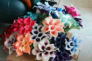 9 Real Touch Calla Lilies Latex Calla Lily Bouquet Bridal Flowers Various Color