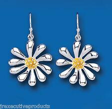 Orecchini a fiore argento sterling pendente placcato oro giallo goccia