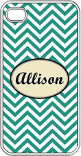 Monogrammed Teal Blue Chevron Design iPhone 4 4S Hard White Case Cover