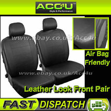 noir uni LOOK cuir Airbag compatible voiture AVANT Housses de siège Set - paire