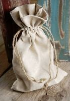 Natural Linen Gift Bags with Jute Drawstrings, 12-Pack