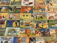 Lot of 50 Linen Humor Comic ~Funny Vintage Postcards- a505