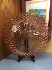 "Anchor Hocking Waterford Waffle Pink Depression Glass 14"" Round Platter"