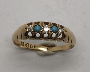 Antique Edwardian 18k Gold Diamond Turquiose Ring